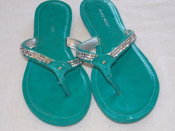 Nine West Teal Diamond Stud Flip Flop Sandal 6M #NineWest #FlipFlops #Casual