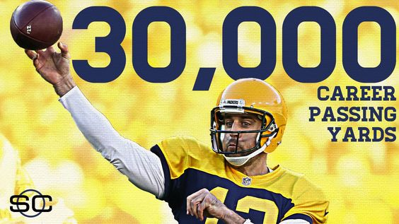 HISTORY! Aaron Rodgers reaches 30,000 career passing yards in the fewest attempts in NFL history, besting Johnny Unitas.
