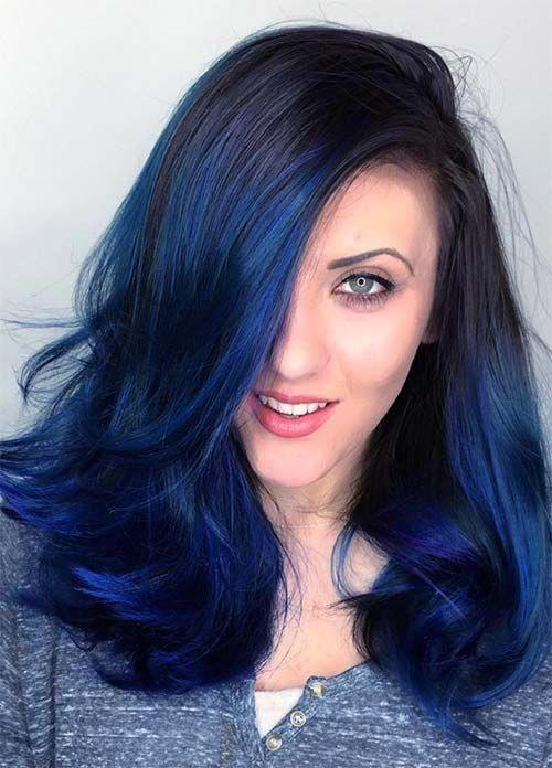 Dark Hair Colors Deep Blue Hair Colors Hairstylecolorblueshades