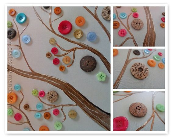 Tree with water colors and buttons