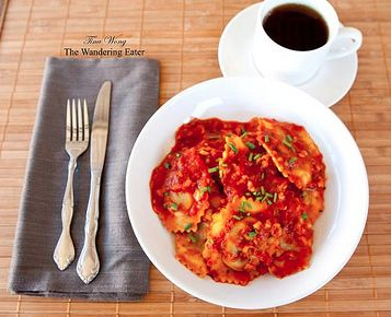 Buitoni Chicken Marsala Ravioli in a Tomato Mushroom Sauce for breakfast? Why not? Courtesy of the Wandering Eater.