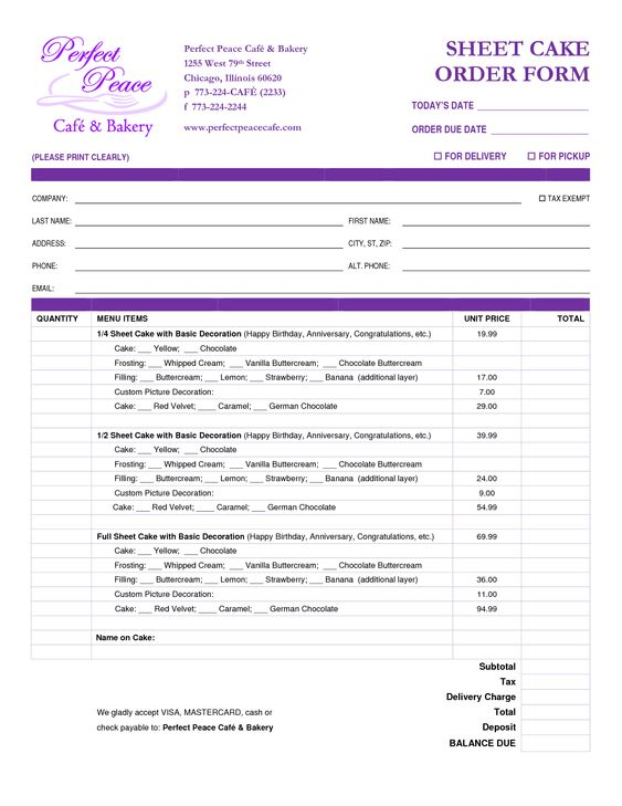 cake order form template free download Google Search – Form Templates Free