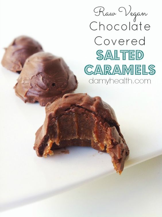 Raw Vegan Chocolate Covered Salted Caramels! Sound delicious and only takes 5 minutes to make!!