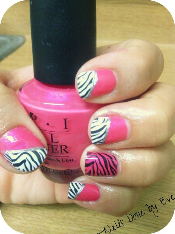 Pink, white, black zebra.