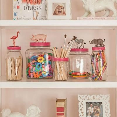 The future of all of our Ragu Jars-Chic Big Girl Room {Bookshelf Decor}