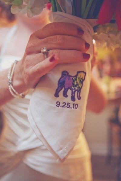 Pug Wedding Bridal Hankie