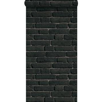 Papier peint intissé inspire briques anciennes, noir, larg. 0.53 m ...