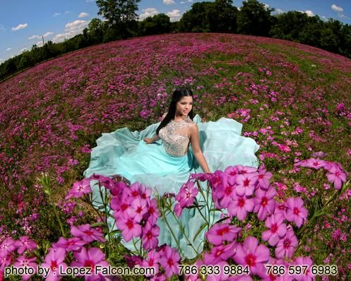 quinceanera en campo de flores flower quince photoshoot dress quince dresses…