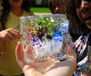 """""""Ice Tunnels"""" combine ordinary salt, ice and liquid watercolors in an unforgettable art and science experiment that costs only pennies. Try this on sunny day with lots of bright sunlight and you'll experience amazing color, light refraction and salt crystallization with a hands-on experience for children of all ages."""