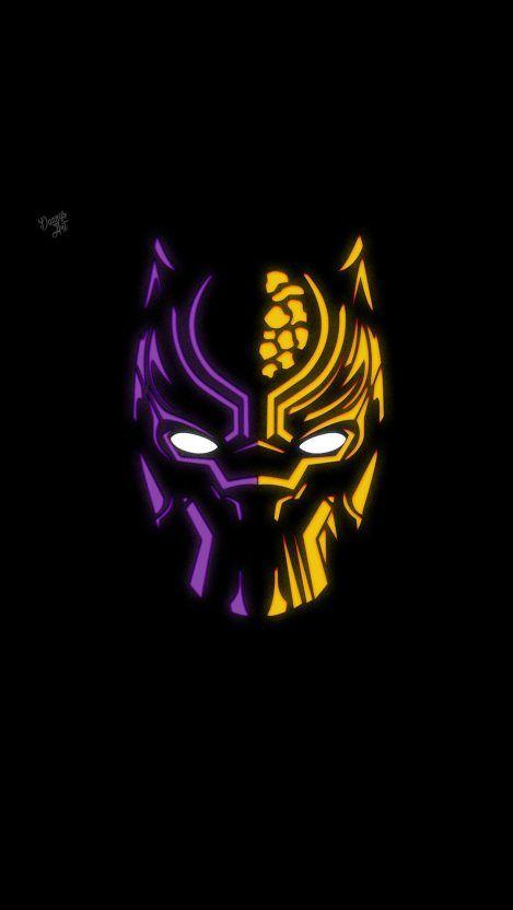 Black Panther Minimal Neon Iphone Wallpaper Black Panther Art Marvel Background Black Panther