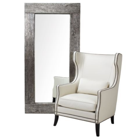 I'll be remaking this mirror with the Ikea Mongstad mirror and spray paint it silver!   Timber Mirror - Leaner from Z Gallerie