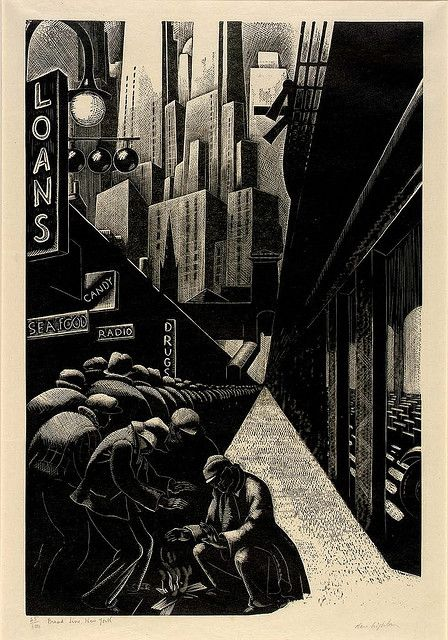 Clare Leighton: Bread Line, New York, 1932 wood engraving