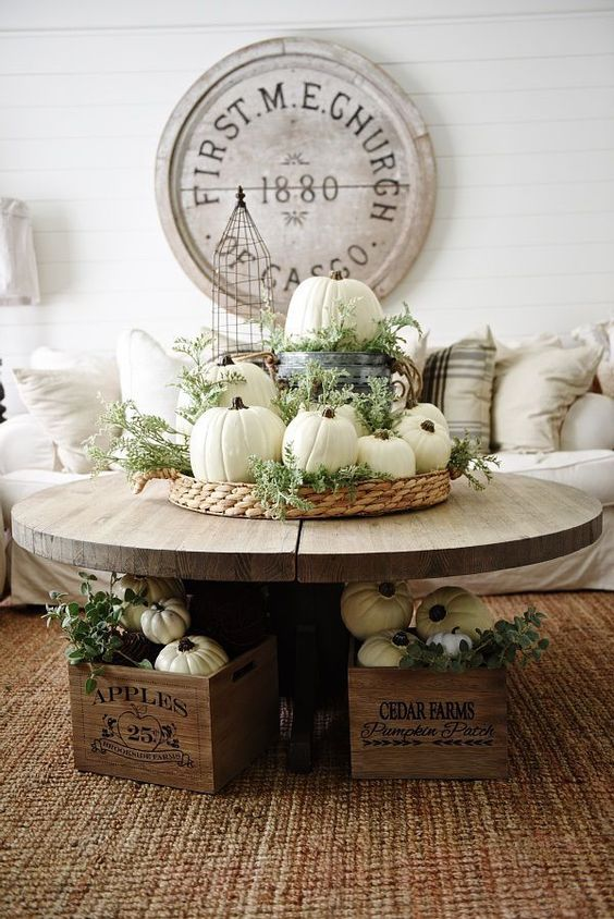 Neutral rustic fall decor- fall in the living room. Great coffee table fall decor.: