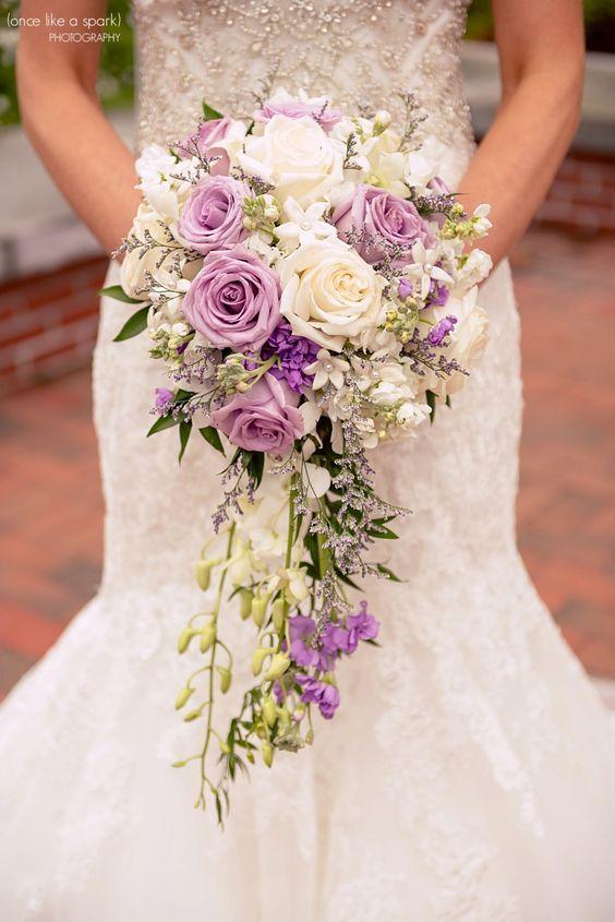 2019 Brides Favorite Purple Wedding Colors Cascade Bouquet With