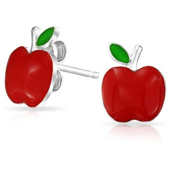 Bling Jewelry Childrens Red Enamel Apple Stud Earrings Sterling Silver (22 CAD) ❤ liked on Polyvore featuring jewelry, earrings, enamel earrings, stud earrings, red jewellery, red enamel earrings and sterling silver jewellery