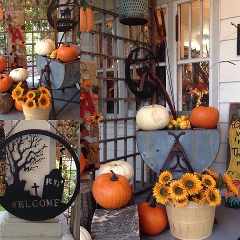 Halloween Outdoor Decoration Idea With Pumpkin Fall Falldecor Falloutdoordecor Outdoor Pumpkin Decorations Pumpkin Halloween Decorations Pumpkin Decorating