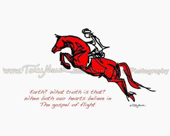 Gospel of Flight, a Horse Haiku. A sketch of a red show jumper soaring. Prints start at $55.00