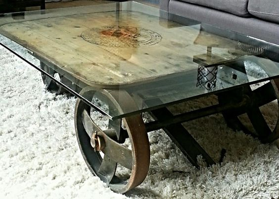 industrial cart coffee table with glass top ** price reduced