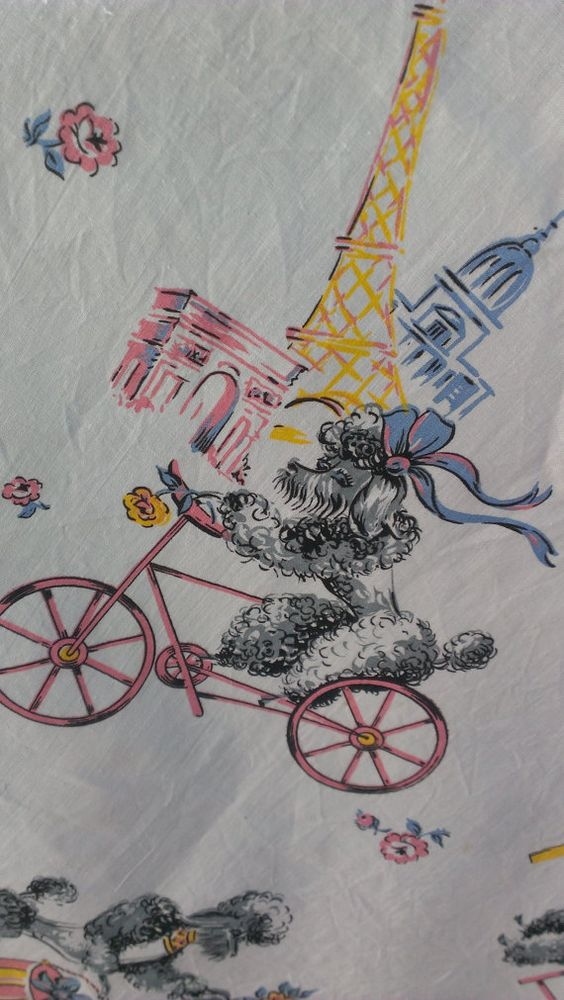 vintage poodle fabric with - photo #29