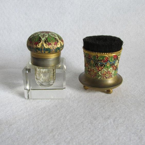 Antique Aesthetic Enamel Inkwell & Pen Wipe by Webster