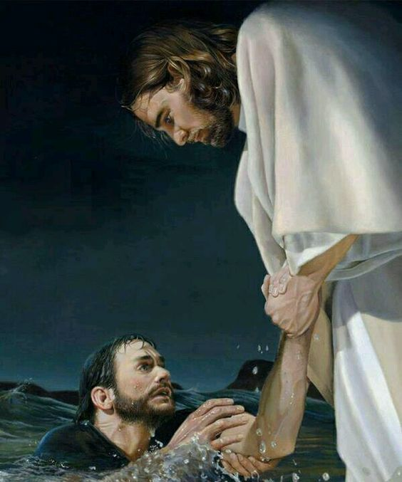 Jesus saving Peter from drowning