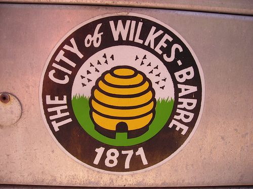 City Seal of Wilkes-Barre, Pennsylvania with bees and beehive by Dougtone, via Flickr