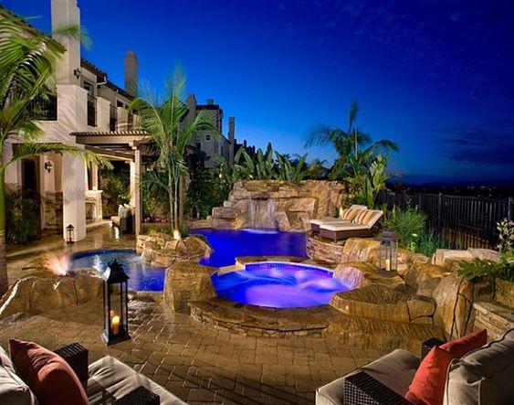 Luxus pool im garten wasserfall  garten-mit-pool-wasserfall-palmen-oase | Dekoration | Pinterest