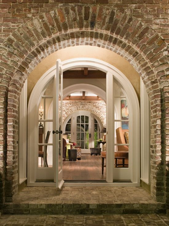 Brick Arch Porch Exposed Brick Arch Living Room Mirrored Home Exteriors
