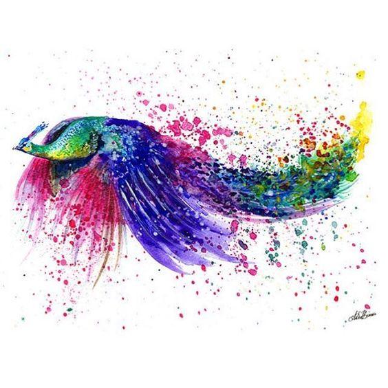 Watercolour peacock painting illustration #peacock #flyingpeacock #watercolor…