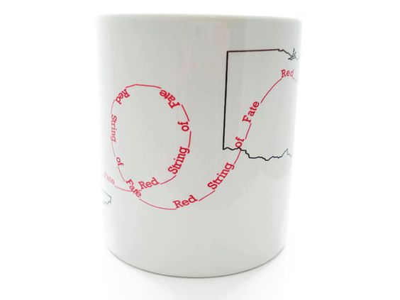 Red String of Fate Mugs - Best Friends, I miss you, Long Distance Relationships