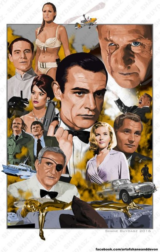 Sean Connery's James Bond featuring all of his official Bond films. This is an 11x17 print signed by the artist. Art done in photoshop. Actual print will not have watermark. #bondcars #bond #cars #sean #connery #james #bond #car