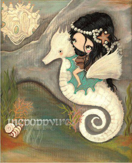 Seahorse Art Print pépinière Sea Shell Château princesse Seahorse Girl gros…