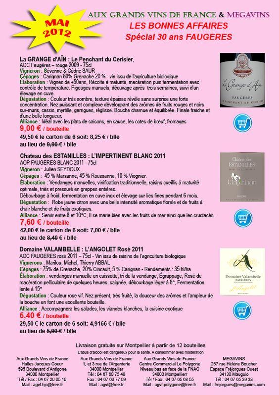 DERNIER JOUR pour profiter des PROMOS sur les Faugères. Last day for discount on wines from $6.00  to $12.00