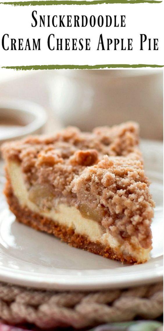 Snickerdoodle Cream Cheese Apple Pie #cake #pie