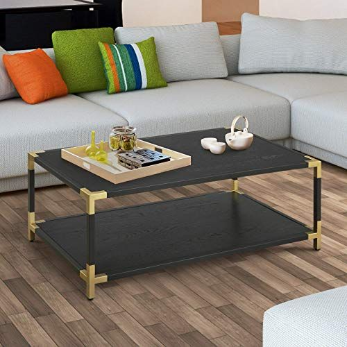 Enjoy Exclusive For Contemporary Black 1 Shelf Coffee Table Gold Glam Transitional Rectangle Metal Veneer Goldtone Finish Wood Includes Hardware Shelf Online In 2020 Coffee Table Contemporary Coffee Table Furniture Of America