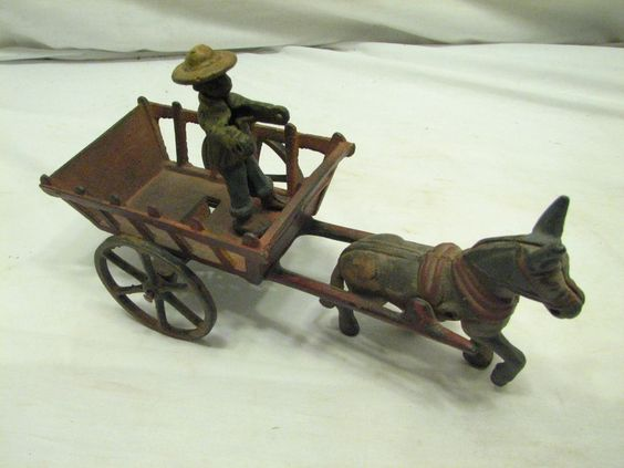 Vintage Cast Iron Toy Donkey Drawn Wagon Cart Black Americana Driver