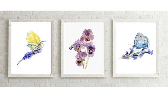 Vlinder lavendel viooltje Aquarel schilderijen  door Zendrawing