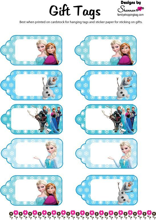 Frozen gift tags: