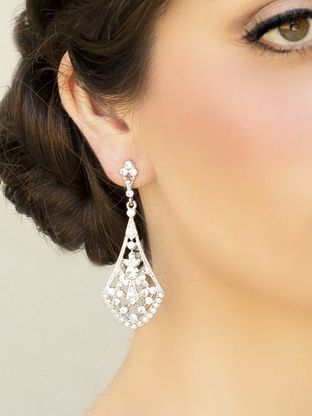 Art Deco Rhinestone Drop Earrings ~ Clara  http://www.haircomesthebride.com/vintage-art-deco-drop-earrings-clara-in-silver/