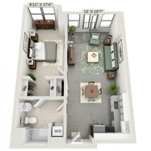 Image result for studio apartment floor plans 500 sqft | Carriage ...