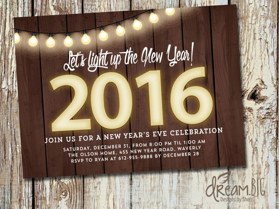 New Year's Eve Party 2016 Invitation Rustic - Printable - Customize by DreamBigDesignsLLC on Etsy