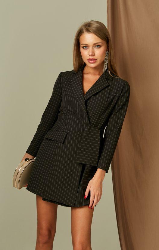 Платье-пиджак длины мини на запах с принтом в тонкую полоску H.I.T. / 2000001170595-1