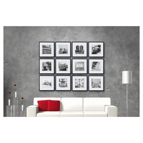 12pc 12 X 12 Black Frame Kit Matted To 7 5 X 7 5 Gallery Perfect Gallery Wall Kit Picture Frame Wall Gallery Wall Picture Frames