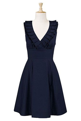 Ruffle front navy dress