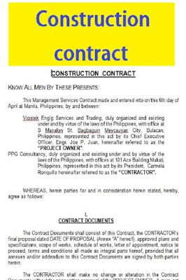 Construction Contract Sample Pdf And Word Construction Contract Rental Agreement Templates Contract