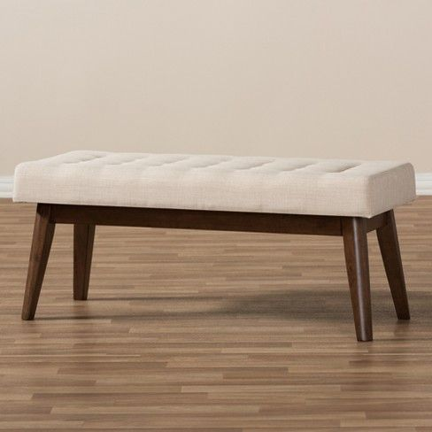 Elia Mid Century Modern Walnut Wood Fabric Button Tufted Bench Baxton Studio Wood Entryway Bench Light Grey Upholstery Tufted Bench