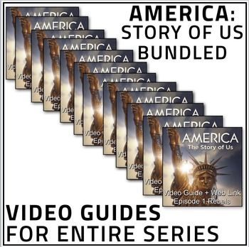 America: The Story of Us Video Guide Collection - Entire Series plus video web links contains video guides to all 12 of the America collection. Package includes video guides, web links to online videos and keys. Also they make great substitute plans! This is a great deal!