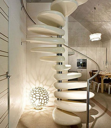 Stunning Staircase And Elevator Design Ideas: Stepping Stones: Smooth-Polished Concrete Spiral Staircase