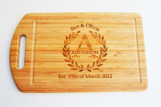 Customised bamboo wooden cutting board ideal by MissBoldDesign