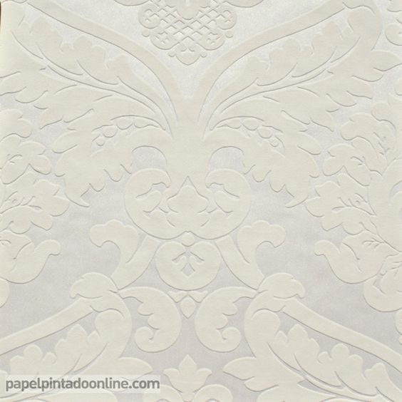 Papel pintado flock 4 5543 38 papel con fondo blanco for Papel pintado para salon blanco